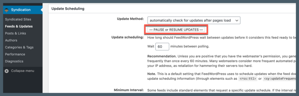 Screenshot showing where to pause or resume updates.