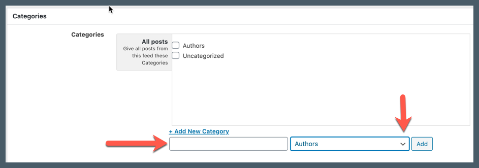 Screenshot showing where to add a new category and select its parent category.